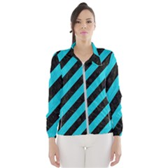 Stripes3 Black Marble & Turquoise Colored Pencil (r) Wind Breaker (women)