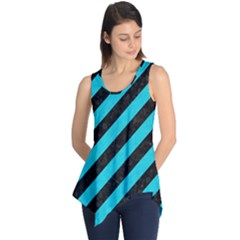 Stripes3 Black Marble & Turquoise Colored Pencil (r) Sleeveless Tunic
