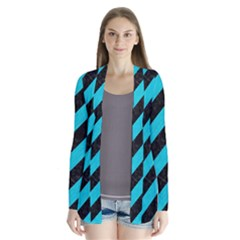 Stripes3 Black Marble & Turquoise Colored Pencil (r) Drape Collar Cardigan