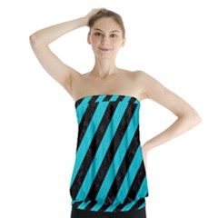 Stripes3 Black Marble & Turquoise Colored Pencil (r) Strapless Top