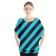 Stripes3 Black Marble & Turquoise Colored Pencil (r) Blouse