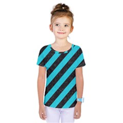 Stripes3 Black Marble & Turquoise Colored Pencil (r) Kids  One Piece Tee