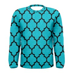 Tile1 Black Marble & Turquoise Colored Pencil Men s Long Sleeve Tee