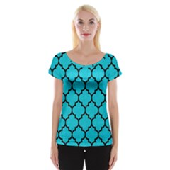 Tile1 Black Marble & Turquoise Colored Pencil Cap Sleeve Tops