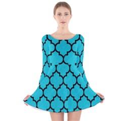 Tile1 Black Marble & Turquoise Colored Pencil Long Sleeve Velvet Skater Dress