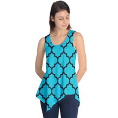 Tile1 Black Marble & Turquoise Colored Pencil Sleeveless Tunic
