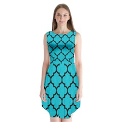 Tile1 Black Marble & Turquoise Colored Pencil Sleeveless Chiffon Dress