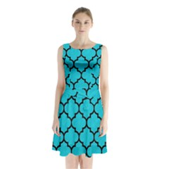 Tile1 Black Marble & Turquoise Colored Pencil Sleeveless Waist Tie Chiffon Dress