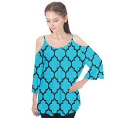 Tile1 Black Marble & Turquoise Colored Pencil Flutter Tees