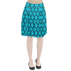 Tile1 Black Marble & Turquoise Colored Pencil Pleated Skirt