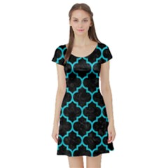 Tile1 Black Marble & Turquoise Colored Pencil (r) Short Sleeve Skater Dress