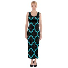 Tile1 Black Marble & Turquoise Colored Pencil (r) Fitted Maxi Dress