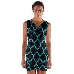 Tile1 Black Marble & Turquoise Colored Pencil (r) Wrap Front Bodycon Dress