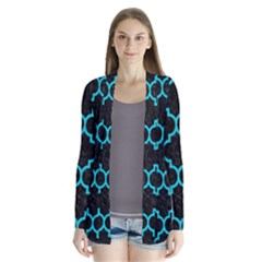 Tile1 Black Marble & Turquoise Colored Pencil (r) Drape Collar Cardigan