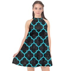 Tile1 Black Marble & Turquoise Colored Pencil (r) Halter Neckline Chiffon Dress