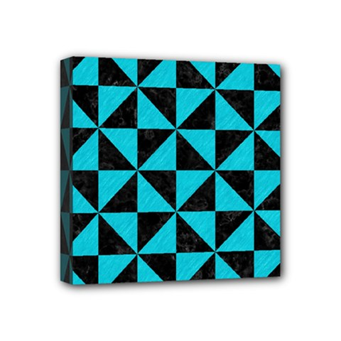 Triangle1 Black Marble & Turquoise Colored Pencil Mini Canvas 4  X 4