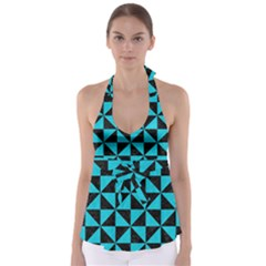 Triangle1 Black Marble & Turquoise Colored Pencil Babydoll Tankini Top