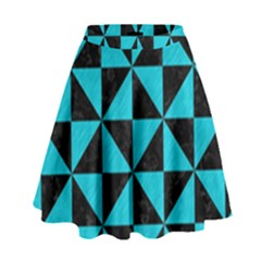 Triangle1 Black Marble & Turquoise Colored Pencil High Waist Skirt