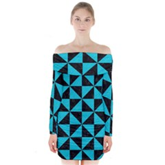 Triangle1 Black Marble & Turquoise Colored Pencil Long Sleeve Off Shoulder Dress