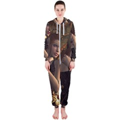 Wonderful Steampunk Women With Clocks And Gears Hooded Jumpsuit (ladies)