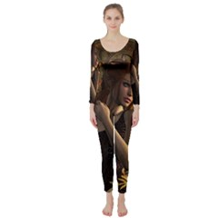 Wonderful Steampunk Women With Clocks And Gears Long Sleeve Catsuit