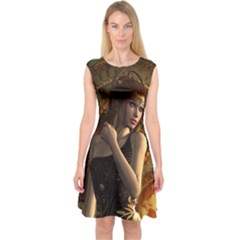 Wonderful Steampunk Women With Clocks And Gears Capsleeve Midi Dress