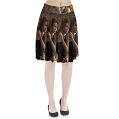 Wonderful Steampunk Women With Clocks And Gears Pleated Skirt