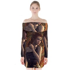 Wonderful Steampunk Women With Clocks And Gears Long Sleeve Off Shoulder Dress