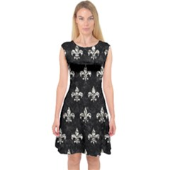 Royal1 Black Marble & Silver Foil Capsleeve Midi Dress