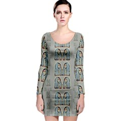 Rasta Men Is Every Where Pop Art Long Sleeve Bodycon Dress