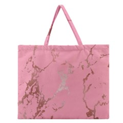 Luxurious Pink Marble Zipper Large Tote Bag
