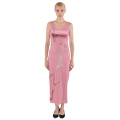 Luxurious Pink Marble Fitted Maxi Dress