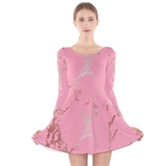 Luxurious Pink Marble Long Sleeve Velvet Skater Dress