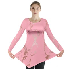 Luxurious Pink Marble Long Sleeve Tunic
