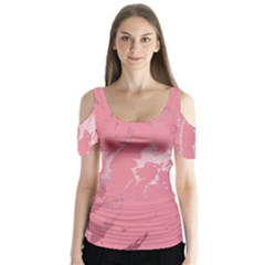Luxurious Pink Marble Butterfly Sleeve Cutout Tee