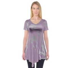 Luxurious Pink Marble Short Sleeve Tunic