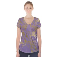 Luxurious Pink Marble Short Sleeve Front Detail Top