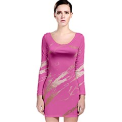 Luxurious Pink Marble Long Sleeve Velvet Bodycon Dress