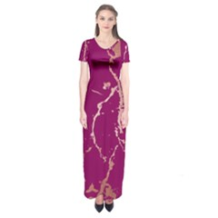 Luxurious Pink Marble Short Sleeve Maxi Dress