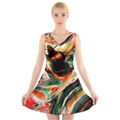Abstract Acryl Art V Neck Sleeveless Skater Dress