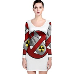 No Nuclear Weapons Long Sleeve Velvet Bodycon Dress