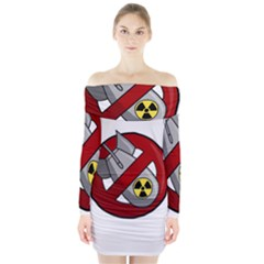 No Nuclear Weapons Long Sleeve Off Shoulder Dress