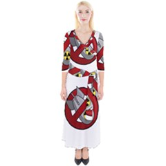 No Nuclear Weapons Quarter Sleeve Wrap Maxi Dress