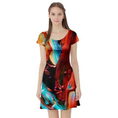 Abstract Acryl Art Short Sleeve Skater Dress