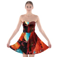 Abstract Acryl Art Strapless Bra Top Dress