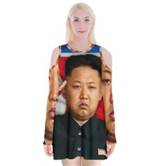 Kim Jong Un Velvet Long Sleeve Shoulder Cutout Dress