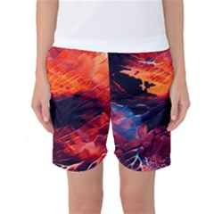 Abstract Acryl Art Women s Basketball Shorts
