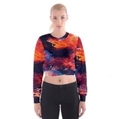 Abstract Acryl Art Cropped Sweatshirt