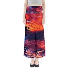 Abstract Acryl Art Full Length Maxi Skirt