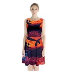 Abstract Acryl Art Sleeveless Waist Tie Chiffon Dress